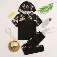 Maedchen Top mit Blumen Muster, Kapuze & Hose mit seitlichem Streifen