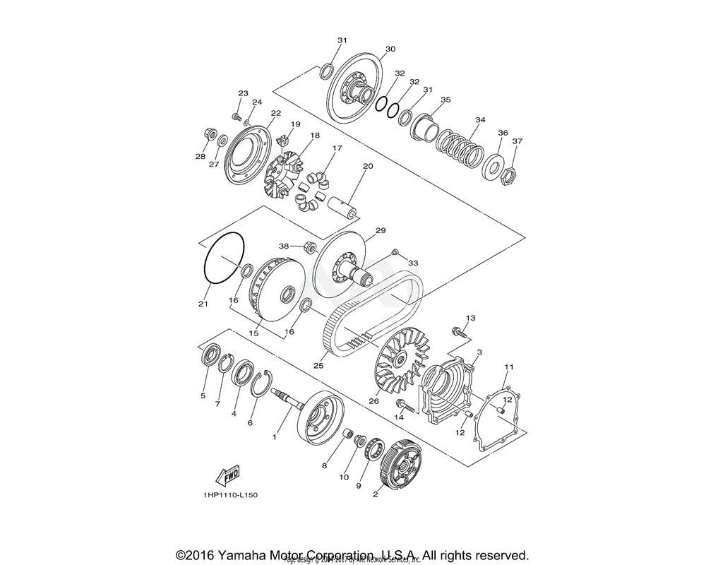 Yamaha OEM 3B4-17611-00-00 SHEAVE, PRIMARY FIXED