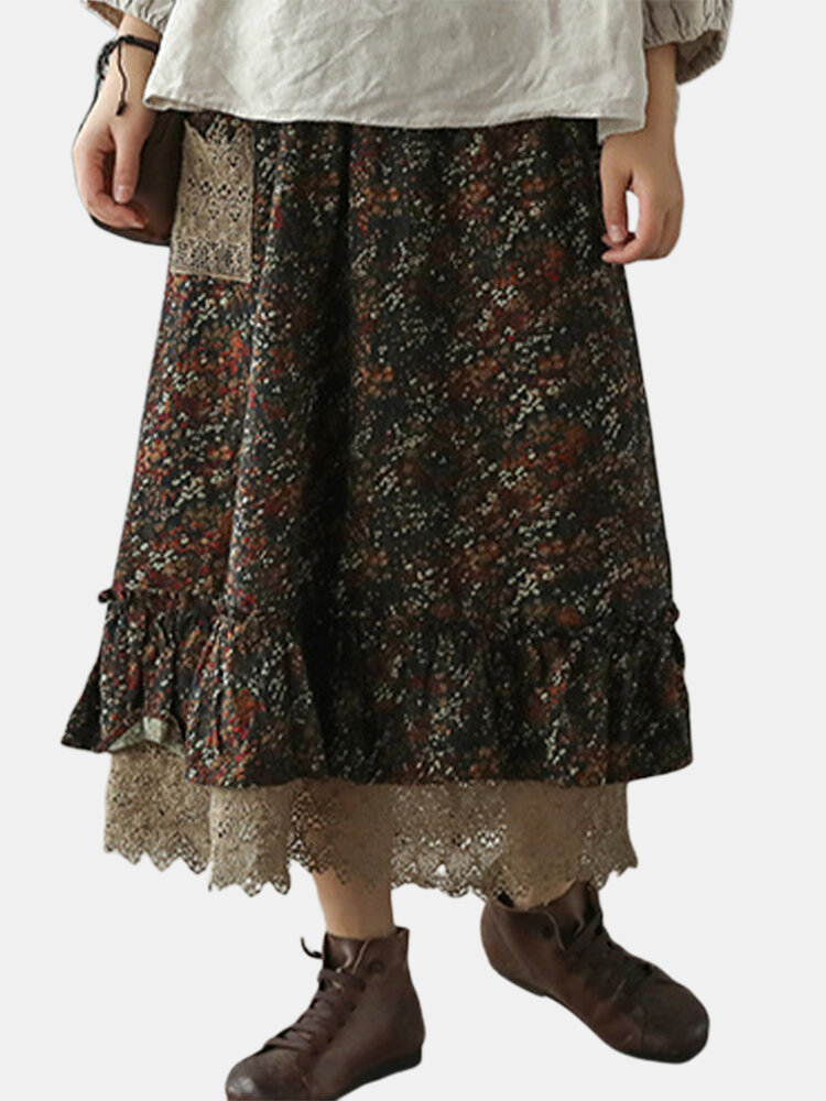Vintage Floral Printed Two Layer Patchwork Lace Skirt With Pocket