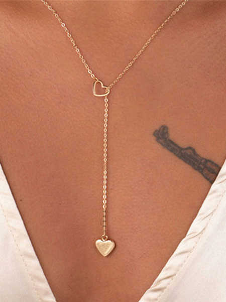 Milanoo Women Gold Necklace Sweetheart Hollow Out Metal Detail Lariat Necklace