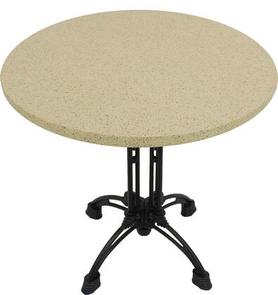Q407 36 RD-CA18-24D 36 Round Cambrian Gold Quartz Tabletop with 17 Ornate Matte Black Dining Height Table