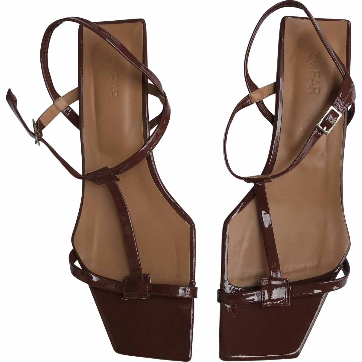 By Far \N Burgundy Patent leather Sandals for Women 39 EU