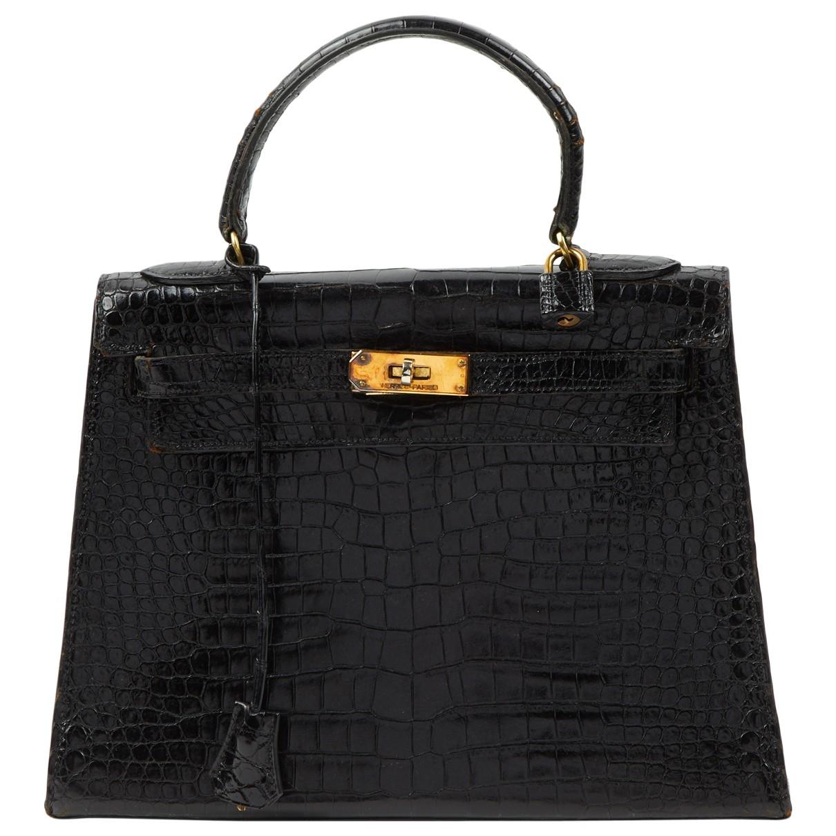 Hermes - Sac a main Kelly 28 pour femme en crocodile - noir