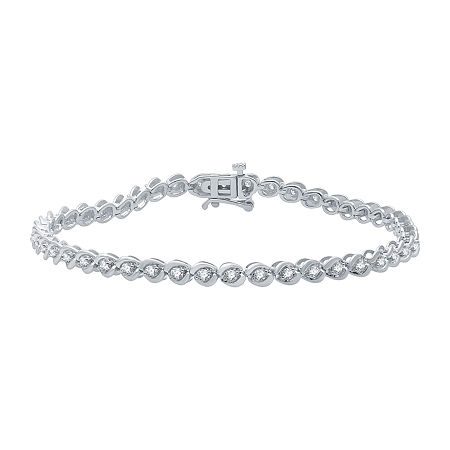 1 CT. T.W. Genuine Diamond 10K White Gold 7.5 Inch Tennis Bracelet, One Size , No Color Family