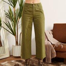 LUUKSE Hose mit Reissverschluss und breitem Beinschnitt
