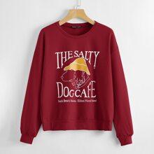 Pullover mit sehr tief angesetzter Schulterpartie, Buchstaben & Hund Muster