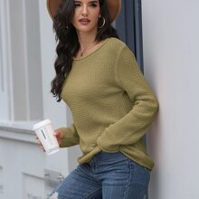 Solid Rolled Neck Sweater