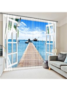 3D Printed Blue Sea and Bridge Fascinating Scenery Blackout Custom Living Room Curtain