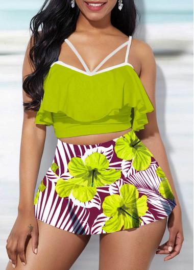 Ruffle Overlay Swimwear Top and Floral Print Pantskirt - S