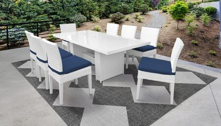 MONACO-DTREC-KIT-8C-NAVY Monaco 9-Piece Outdoor Patio Dining Set with Rectangular Table + 8 Side Chairs - Wheat and Navy