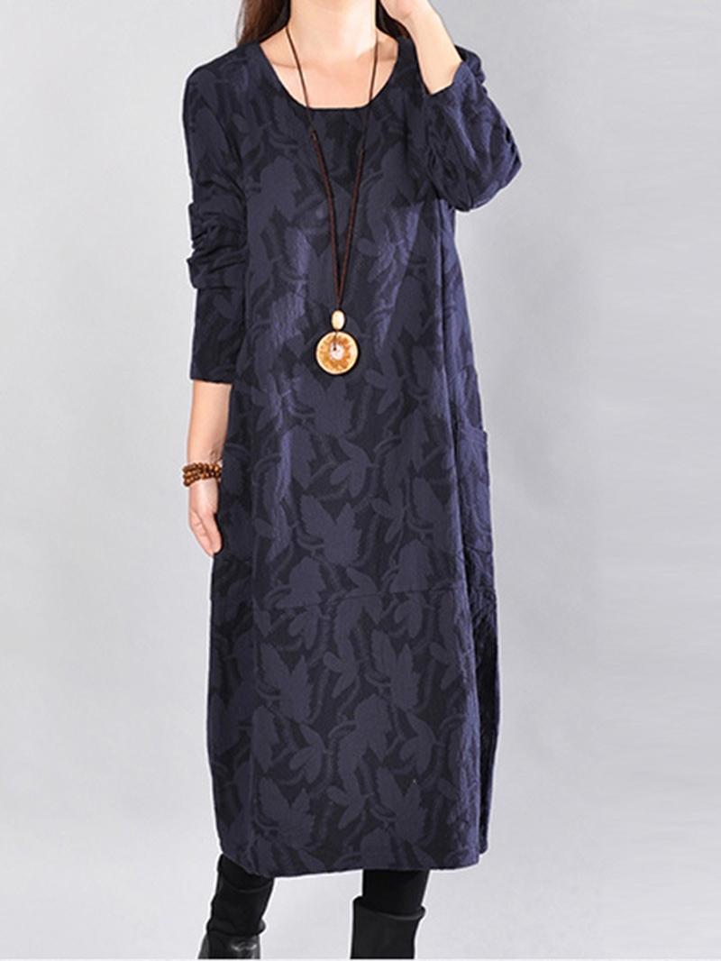 Ericdress Print Round Collar Pocket Loose Maxi Dress