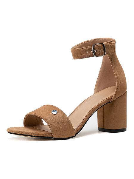 Milanoo Mid Heel Sandals Womens Open Toe Ankle Strap Block Heel Sandals