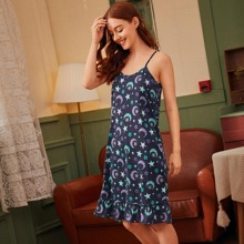 Star & Moon Print Cami Night Dress With Eye Cover