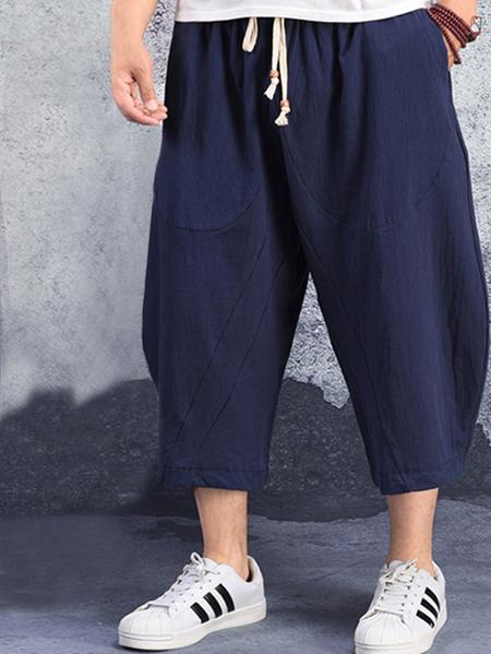 Yoins Men Summer Chinese Style Casual Cotton Linen Loose Capris
