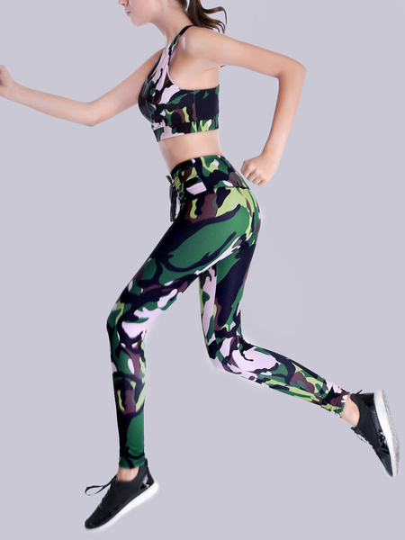 Milanoo Camo Activewear Sets Yoga Sports Bra With Leggings