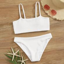 White Ribbed Bikini Swimsuit