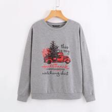 Sweatshirt mit Weihnachten & Buchstaben Grafik