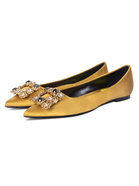 Milanoo Evening Shoes Black Satin Pointed Toe Metal Details Rhinestone Evening Flats Party Shoes