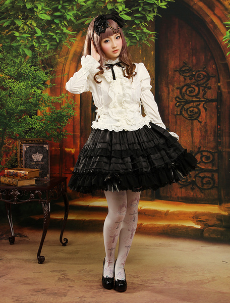 Milanoo Gothic Multi Color Long Sleeves Jacquard Cute Lolita Outfits