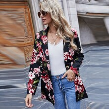 Floral Flap Detail Single Button Blazer