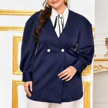 Plus Double Button Puff Sleeve Blazer