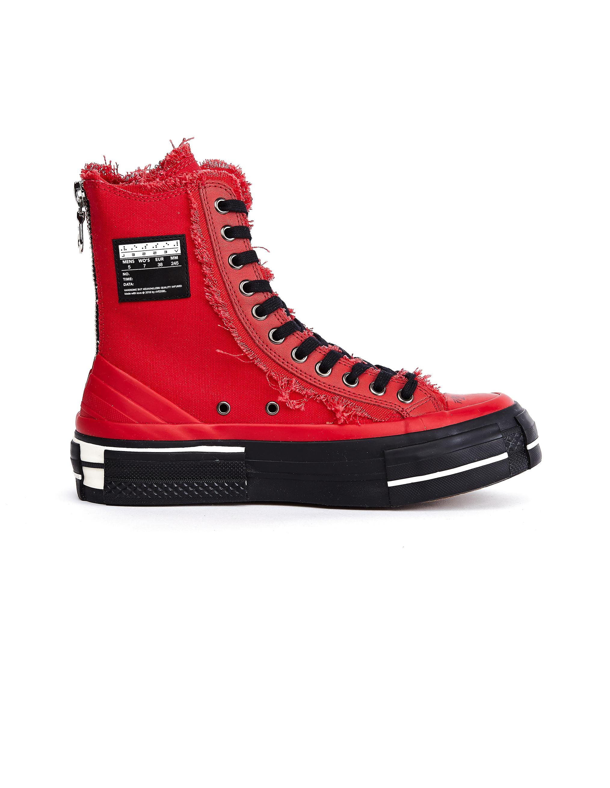 Yohji Yamamoto Red Cotton High Top Sneakers