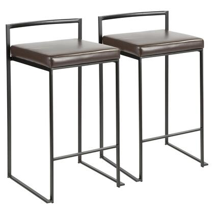 Fuji Collection B26-FUJIBK+BN2 Set of 2 Counter Height Stool with Contemporary Style and Padded Seat in Brown