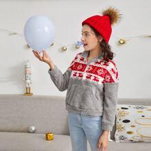 Sudadera tapeta media con cremallera teddy con patron de Navidad