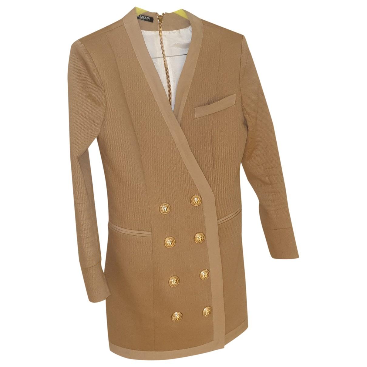 Balmain \N Kleid in  Beige Baumwolle
