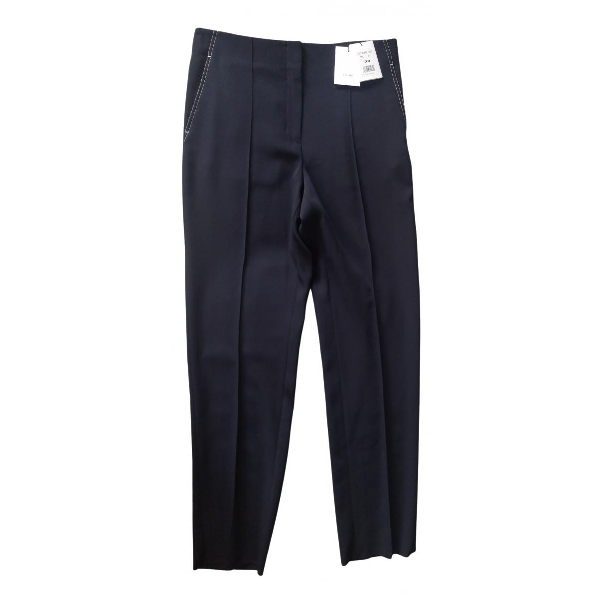 Celine N Blue Wool Trousers for Women 38 FR