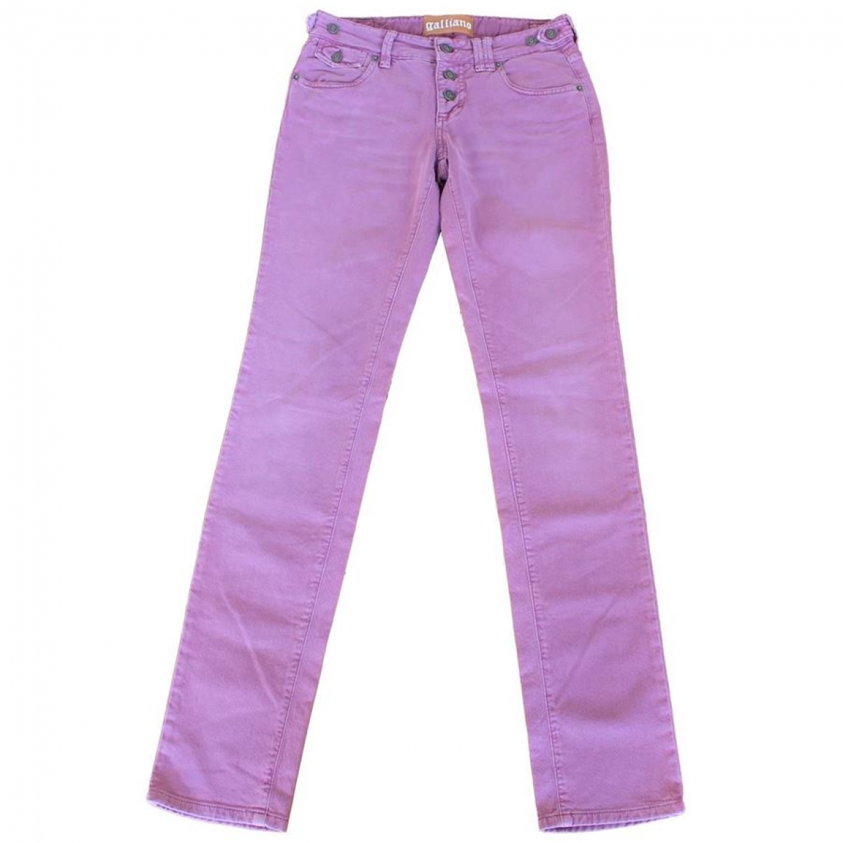 John Galliano \N Pink Cotton Trousers for Women 42 IT