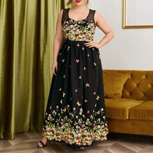 Plus Floral & Butterfly Print Contrast Mesh Beaded Dress