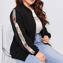 Jacke mit Kontrast Pailletten, Netzstoff und seitlicher Naht