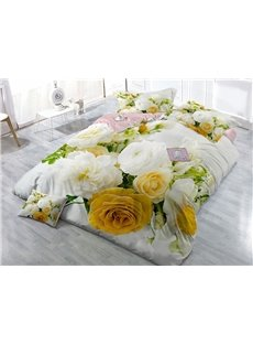 White Roses Wear-resistant Breathable High Quality 60s Cotton 4-Piece 3D Bedding Sets