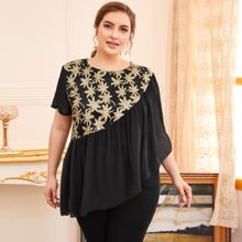 Plus Floral Embroidered Ruffle Chiffon Blouse