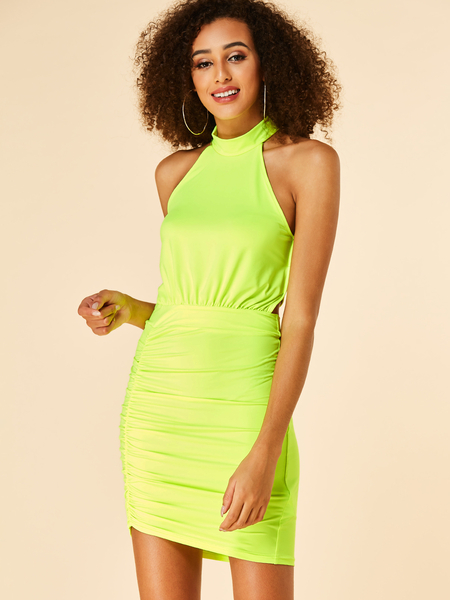 YOINS Yellow Neon Backless Design Pleated Halter Dress