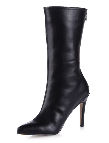 Milanoo Black Pointed Toe Zipper PU Leather Stylish Women's Knee Length Boots
