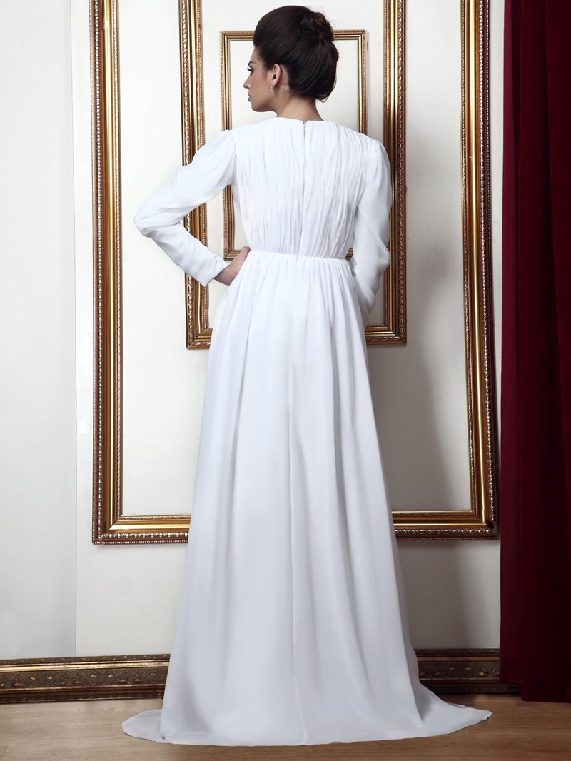 Ericdress Long Sleeves V Neck White Mother of Bride Dress