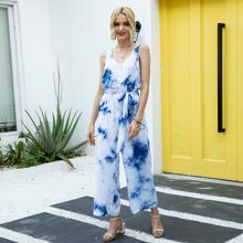 Tie Dye Button Front Belted Jumpsuit