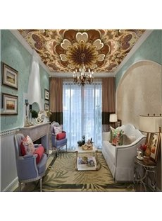 3D Flower Pattern Exquisite Style Waterproof Durable and Eco-friendly Ceiling Murals