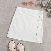 Plus White Wash Button Front Denim Skirt