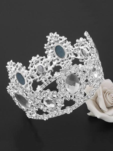 Milanoo Wedding Crown Tiara Princess Bridal Headpieces Rhinestones Royal Hair Accessories