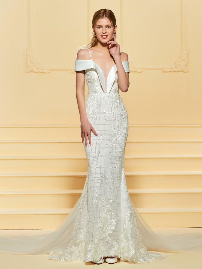 Ericdress Mermaid Straps Lace Wedding Dress