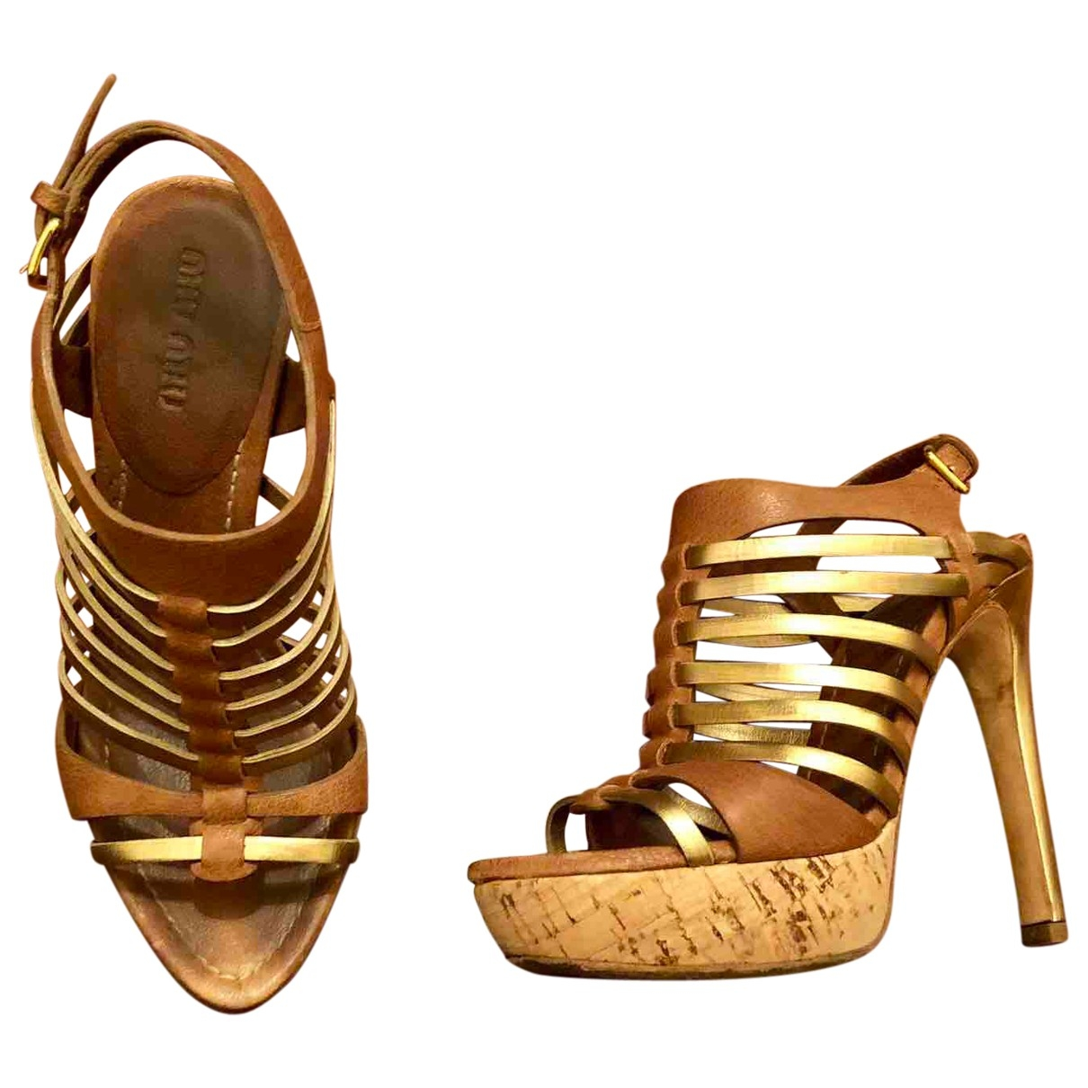 Miu Miu \N Gold Leather Sandals for Women 35 EU