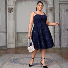 Plus Sequin Panel Lace Cami Dress