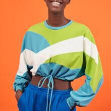 Pullover corto de color combinado bajo con cordon de hombros caidos