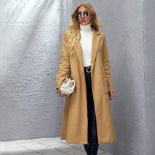 Lapel Neck Belted Overcoat