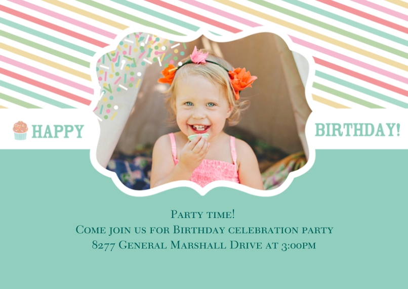 Kids Birthday Party 5x7 Cards, Premium Cardstock 120lb with Scalloped Corners, Card & Stationery -Cupcake Cutie Birthday Invite
