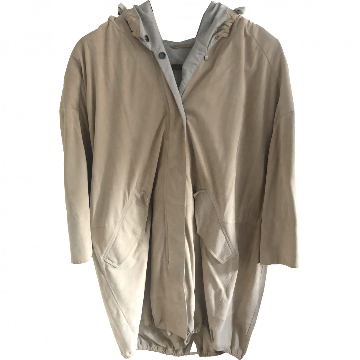Brunello Cucinelli \N Beige Suede coat for Women 44 IT