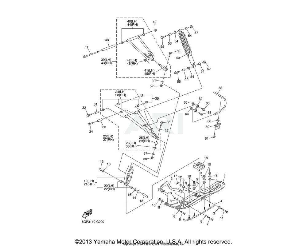 Yamaha OEM 8GP-23540-B0-00 FRONT UPPER ARM COMP. (LEFT) | UR FOR VYRS4